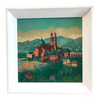 Vintage Framed Cathedral Oil on Board For Sale