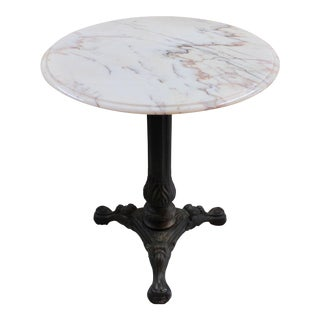 Marble Top Iron Bistro Table For Sale