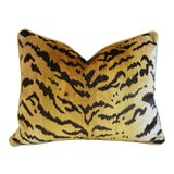 "Image of Scalamandre Le Tigre Tiger Silk Velvet Feather/Down Pillow 23"" X 18"" For Sale"