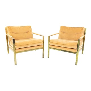 Milo Baughman Style Mid Century Brass Flatbar Lounge Chairs- A Pair For Sale