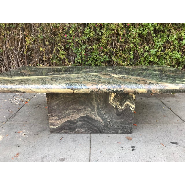 1970s Organic Modern Solid Black & Cream Marble Coffee Table For Sale - Image 4 of 10