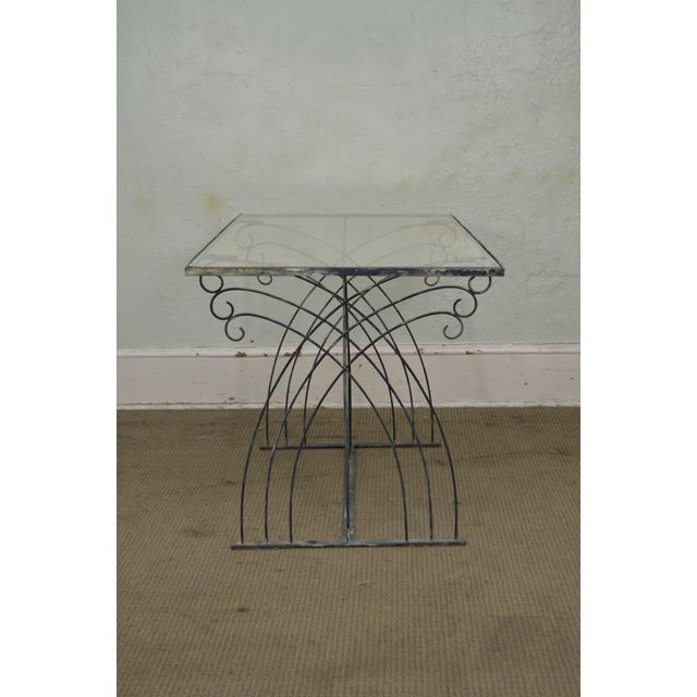 Glass Art Deco Vintage Studio Wrought Iron Glass Top Patio Console Table For Sale - Image 7 of 13