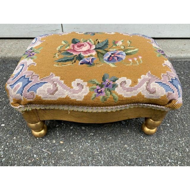 Vintage Needlepoint Footstool For Sale - Image 4 of 13