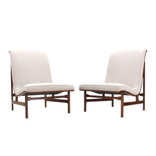 Pair of Large Lounge Chairs New Upholstery For Sale