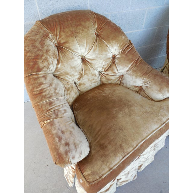 Lee Jofa Hollywood Regency Tufted Back Plush Velvet Velour Swivel Club Chairs - A Pair - Image 5 of 11
