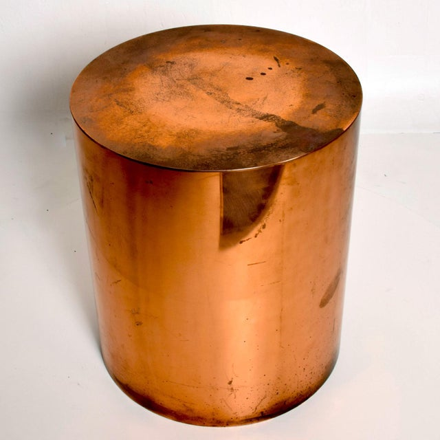 1970s 1970s Mid Century Modern Cylinder Drum Side Table For Sale - Image 5 of 8