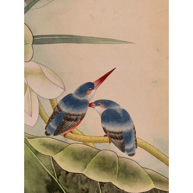 "1970s Vintage ""Two Bluebirds on a Lotus Pad"" Chinese Scroll Painting For Sale - Image 4 of 8"