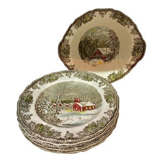 English Winter Scene Dinner Plates & Bowl - Set of 7