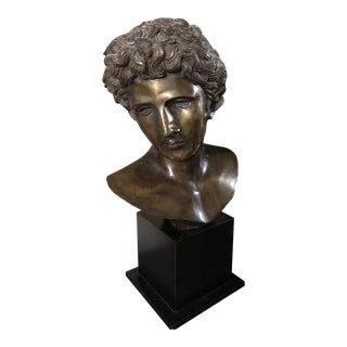 Traditional Bronze Greek Male Statue For Sale