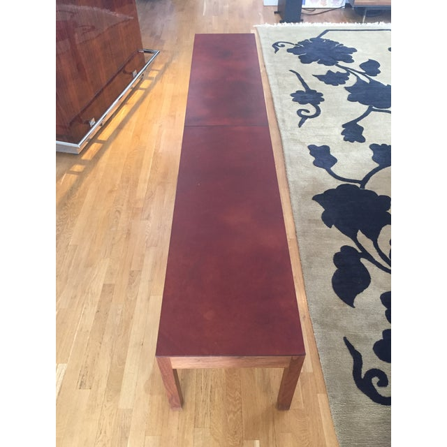 Contemporary BDDW Walnut Bench With Leather Seat For Sale - Image 3 of 4
