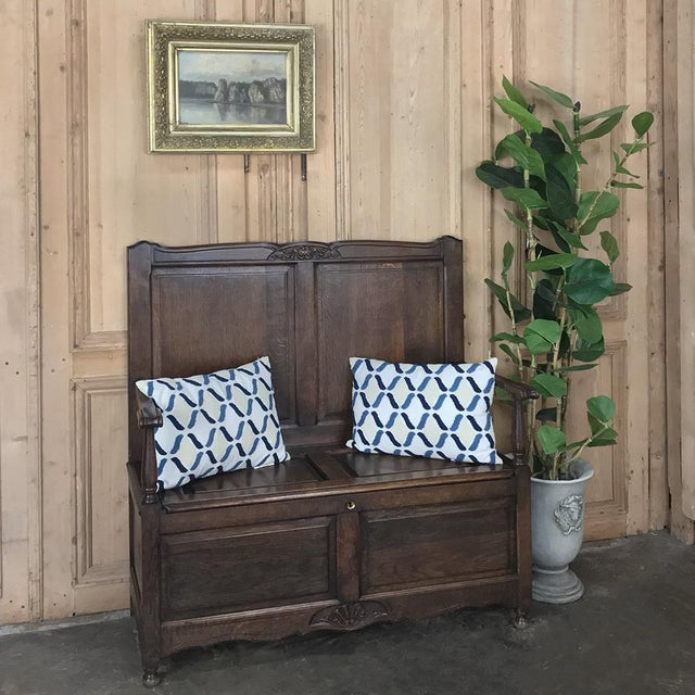 Antique Country French Provincial Hall Bench is a charming way to decorate an entryway, hallway, stairwell landing, or any...