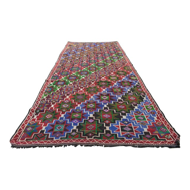 Handwoven Turkish Kilim Rug. Traditional Oushak Area Rug Braided Kilim - 6′ X 13′5″ For Sale