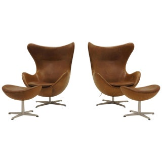 Pair Arne Jacobsen Egg Chairs With Ottomans, Cognac Leather. Price Is for All. For Sale