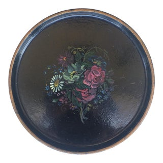 1920s Black Vintage Papier Mache Round Floral Tray For Sale