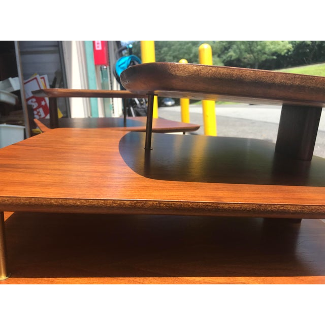 Stunning pair of mid century modern end/side tables 3 tier pair. Very sturdy in great vintage condition.