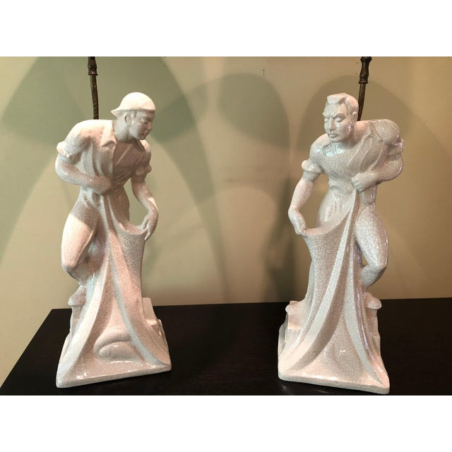 1950s Japanese Figurative Porcelain Fishermen Lamps - a Pair For Sale - Image 13 of 13