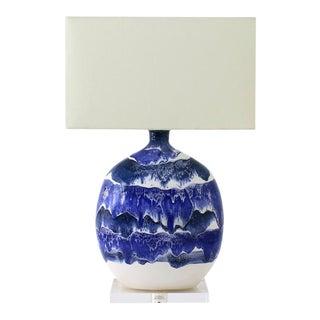 "Paul Schneider Ceramic ""Marfa"" Lamp in Drip Banded Blue Glaze For Sale"