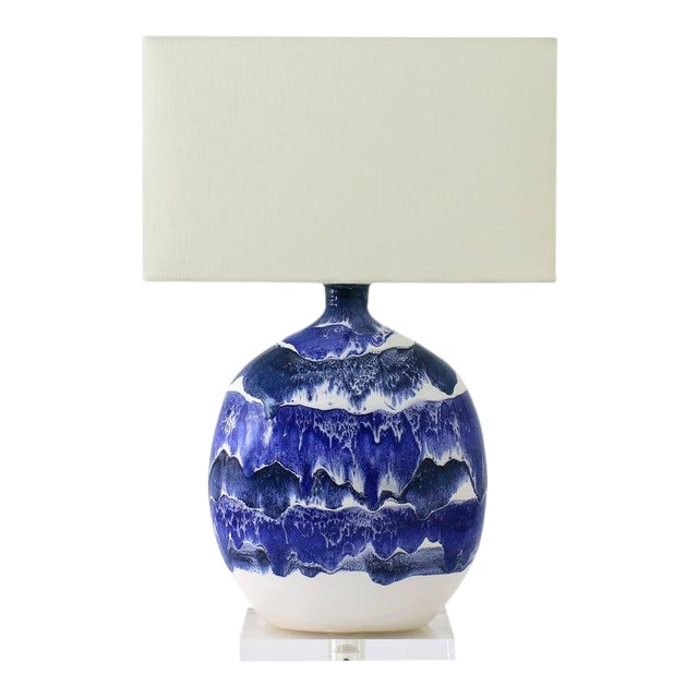 "Paul Schneider Ceramic ""Marfa"" Lamp in Drip Banded Blue Glaze For Sale"