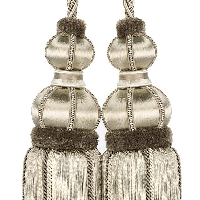 """Art Deco Taupe Double Tassel Tieback With Cut Ruche- Height 17"""" For Sale - Image 3 of 6"""