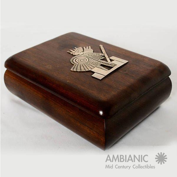 1940s Mahogany With Silver Emblem Jewelry Box For Sale - Image 5 of 10