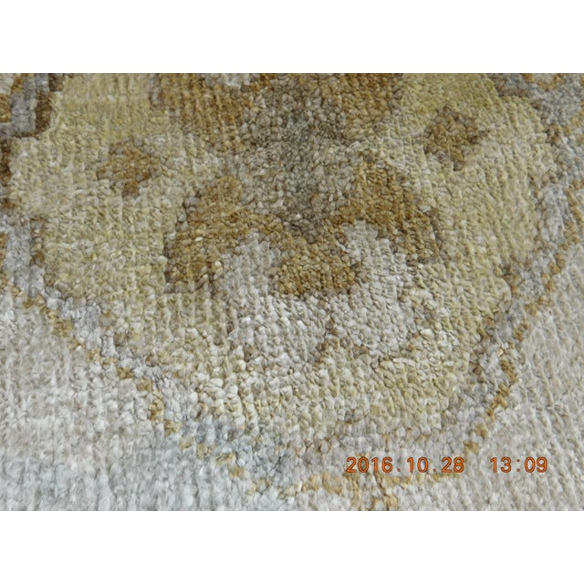 "White Hand Knotted Bamboo Silk Indo Ushak Rug -7'10""x 10' For Sale - Image 8 of 9"
