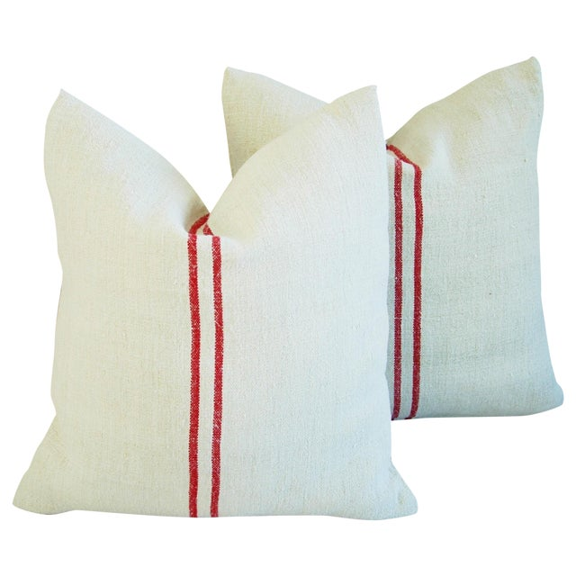 French Grain Sack Down & Feather Pillows - Pair - Image 1 of 9