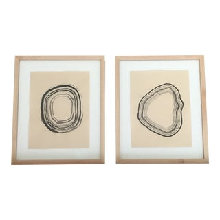 Abstract and Organic Sumi Ink Paintings Framed Set - a Pair