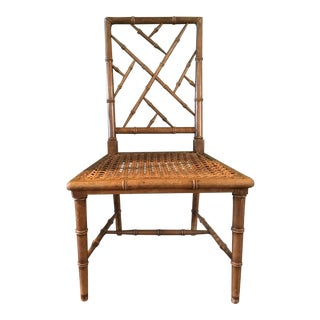 1950s Vintage Chippendale McGuire Style MCM Faux Bamboo Cane Chair For Sale