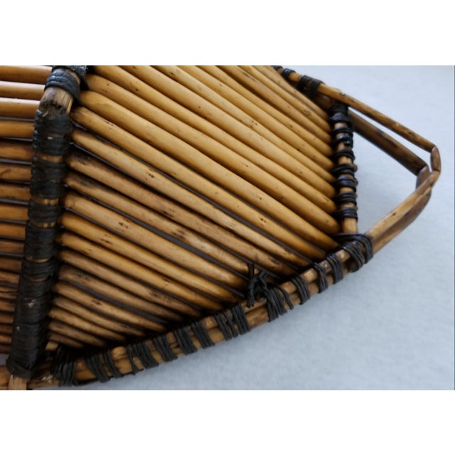 Large Fish Shaped Bamboo Basket For Sale - Image 4 of 8