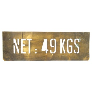 Vintage French Brass Shipping Stencil For Sale
