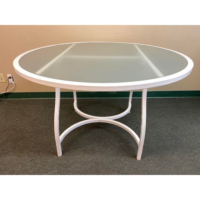 White Janus Et Cie Frosted Glass Dining Table For Sale - Image 8 of 11