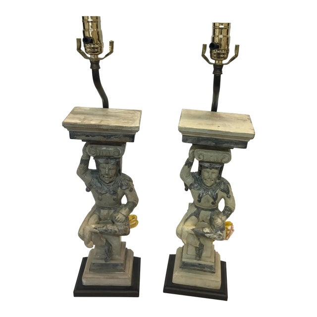 Hand Carved Wooden Court Jesters Lamps - A Pair For Sale
