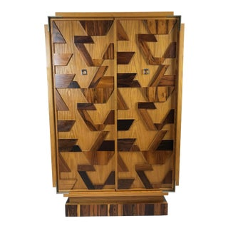 1970s Brutalist Armoire Wardrobe Gentleman's Chest For Sale