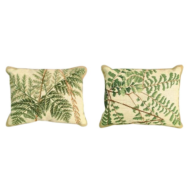Fern Needlepoint Pillows - Pair For Sale