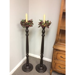 1900s Gothic Mahogany Floor Standing Candlesticks - a Pair Preview