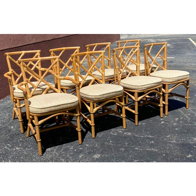 Vintage Coastal Ficks Reed Chinese Chippendale Bamboo Dining Chairs - Set of 8 For Sale - Image 13 of 13