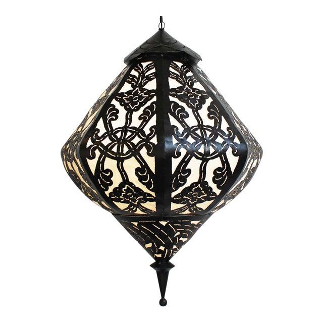 Large Metal Work Diamond Lantern - Image 1 of 3