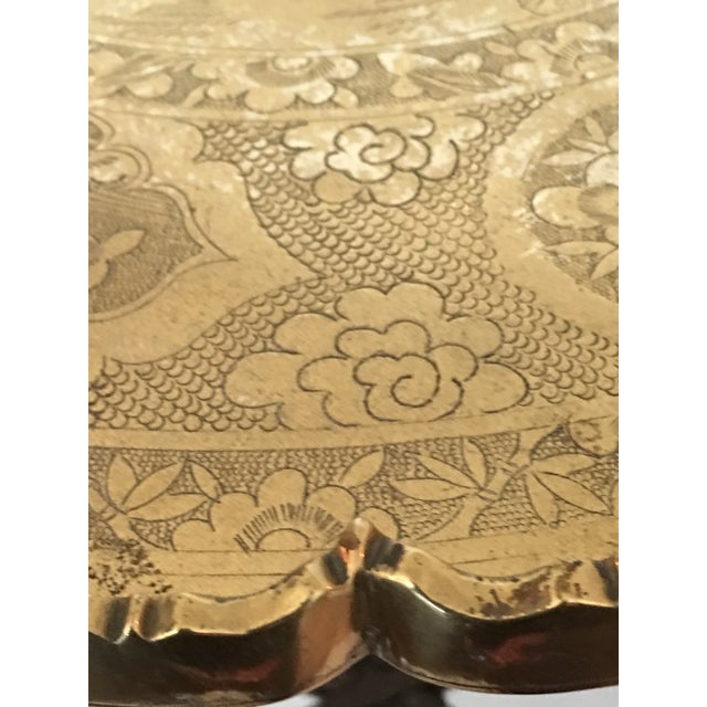 Scalloped Chinese Brass Collapsible Tray Table For Sale In Chicago - Image 6 of 11