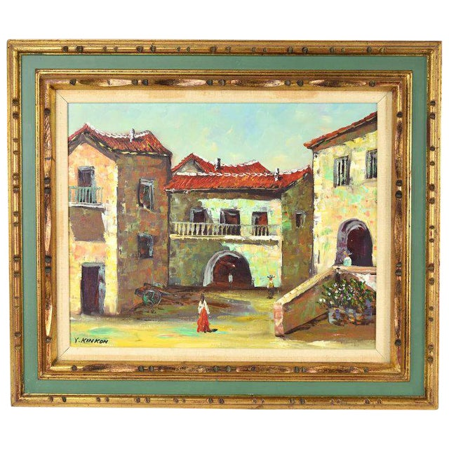 Vintage Spanish Village Street Scene Oil Painting Figures Walking in Plaza For Sale