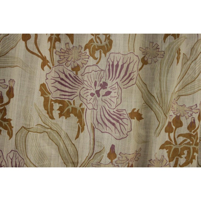 Textile Antique French Art Nouveau Light Weight Cotton Roller Print Floral Sheer Fabric For Sale - Image 7 of 12