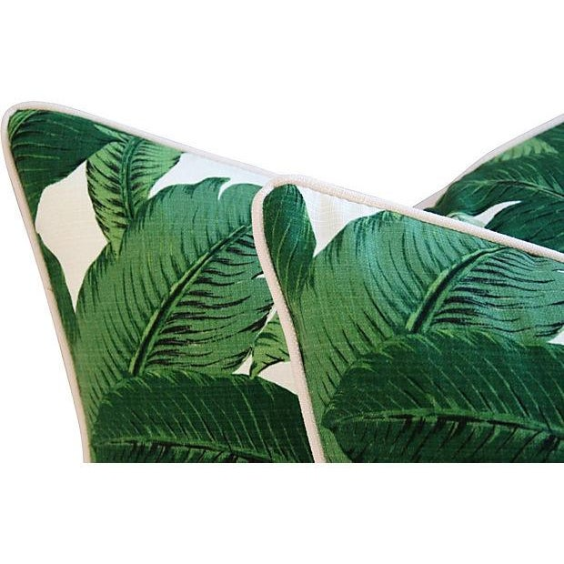 Large Tropical Iconic Banana Leaf Feather/Down Pillows - a Pair - Image 6 of 7
