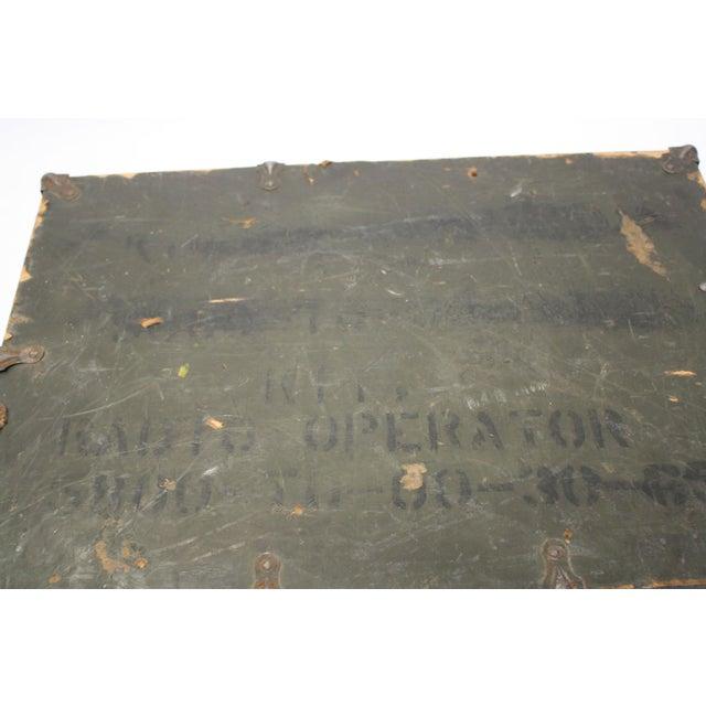 Vintage Army Green Radio Box Leather Handle - Image 6 of 7
