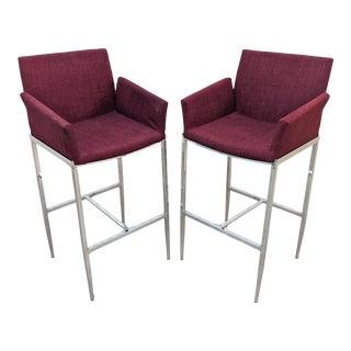 Modern Chrome Bar Chairs - a Pair For Sale