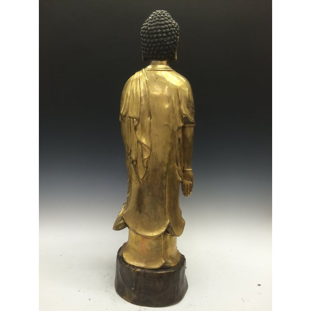 Chinese Art Gold Gilt Bronze Standing Kwan Yin Sculpture - Image 9 of 10