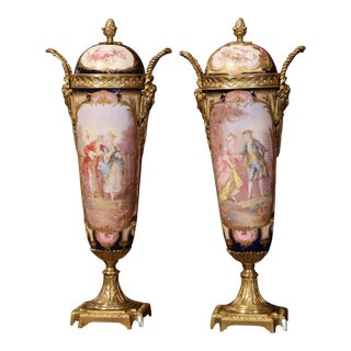 Pair of 19th Century French Hand Painted Porcelain and Bronze Sevres Vases For Sale