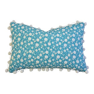 "18"" x 12"" Custom Tailored Dandelion Flower Feather/Down Pillow w/ Pom-Pom Trim"