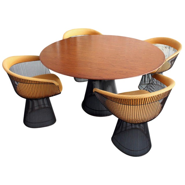 Original Walnut and Bronze Dining Set With 4 Chairs by Warren Platner for Knoll For Sale