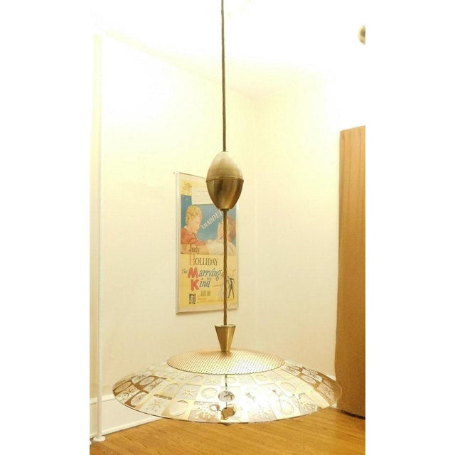 Lightoleir Mid-Century Retractable Atomic Saucer Chandelier - Image 4 of 6
