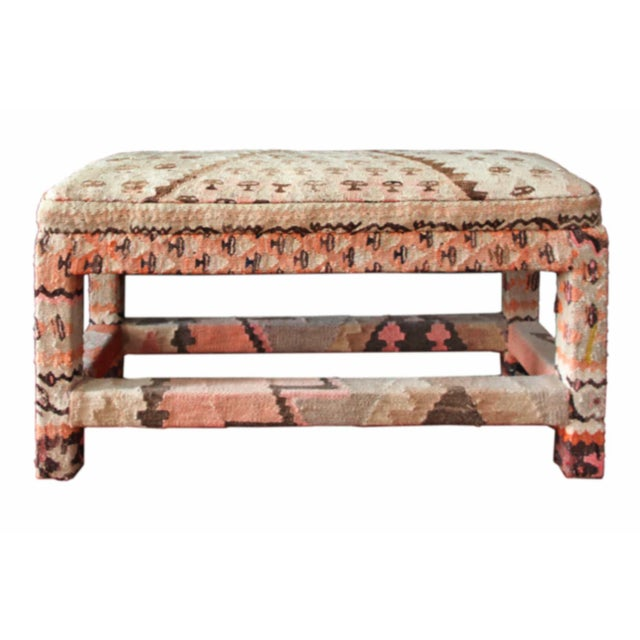 Wood Late 20th Century Kilim Upholstered Bench For Sale - Image 7 of 7
