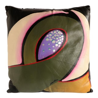 Abstract Floral Hand Painted Throw Pillow For Sale